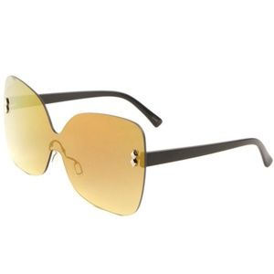 Rimless Butterfly Sunglasses Mirror Lens